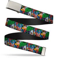 "Blank Chrome 1.0"" Buckle Marvel Comics Marvel Characters Collage Webbing Web Belt 1.0"" Wide - S"