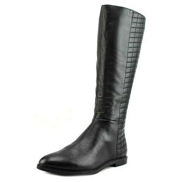 Calvin Klein Donnily Wide Calf Women Round Toe Leather Black Mid Calf Boot