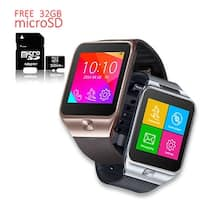 Indigi® Unlocked 2in1 SWAP2 SmartWatch & Phone + Built-In Camera + Pedometer + Bluetooth Sync w/ 32gb microSD Included - Silver