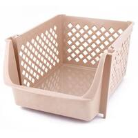 Unique BargainsHome Plastic Square Shaped Vegetable Fruit Beer Storage Basket Container Beige
