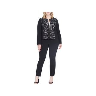 Tahari ASL Womens Plus Pant Suit Laser Cut Zip front