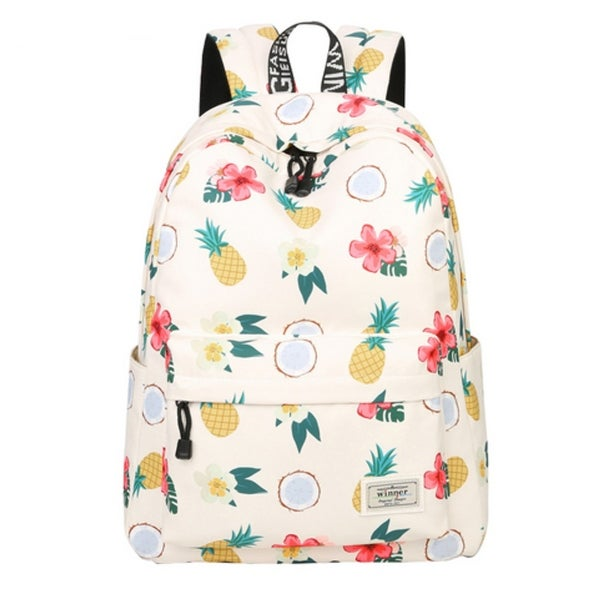 bbfd343fc Shop Women Floral Pineapple Print Canvas Backpack Teenage Girls School Bags  - Free Shipping On Orders Over $45 - Overstock - 23174936