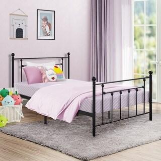 VECELO Twin Size Metal Bed Set, Headboard Footboard and Slats