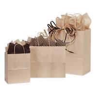 "(125 pack) Oatmeal Kraft Shopping Bags Solid Assortment 25 Rose, 50 Cub, 25 Vogue & 25 Queen (16"" x 6"" x 19"")"