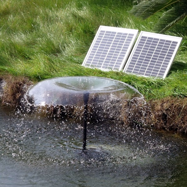 Sunnydaze Solar Pump & Solar Panel Kit with Battery Pack & LED Light 396 GP