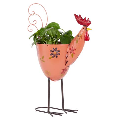 "Metal Rooster Planter For Outdoor Plants, With Stand, 20"", Pink - 19 x 8 x 20"