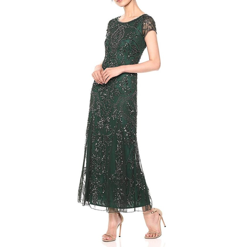 Pisarro Nights Womens Dress Green Size 2 Gown Sequin Boat Neck
