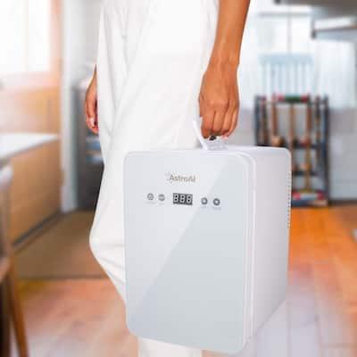 Mini Fridge 6 Liter/8 Can Skincare Fridge for Bedroom - with Upgraded Temperature Control Panel - AC/12V DC