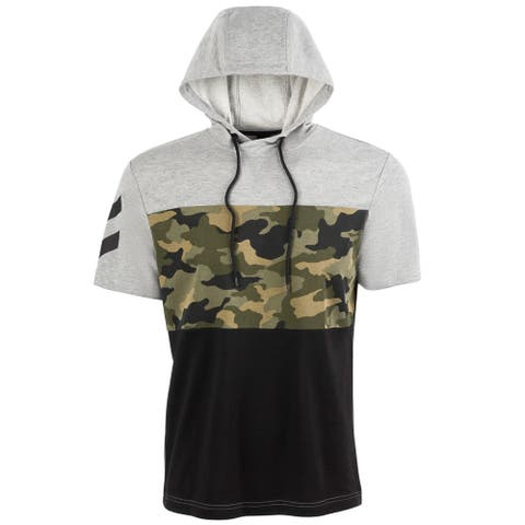 Ideology Mens Hoodie Black Gray Size 2XL Pullover Camo Colorblock