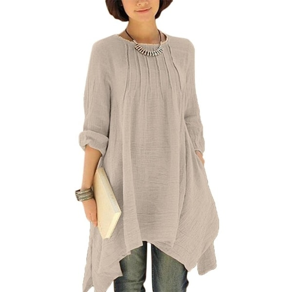 442810612e56 Ilstile 2017 Fashion Women Long Sleeve Asymmetrical Midi Dress O-Neck Casual  Loose Cotton Linen