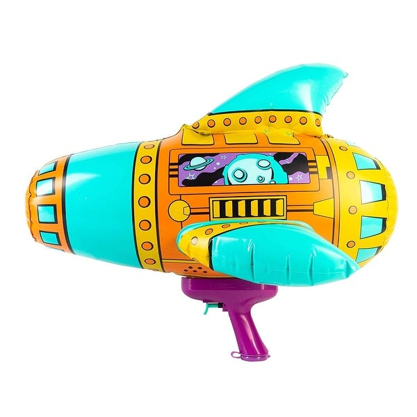 """20"""" Teal, Orange and Purple Inflatable Spaceship Water Blaster. Opens flyout."""