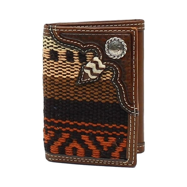 Nocona Western Wallet Mens Trifold Conchos Weave Multi-Color - One size
