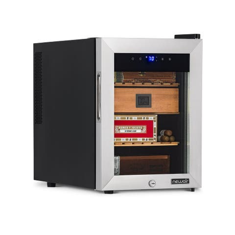NewAir 250 Count Electric Cigar Humidor Wineador in Stainless Steel with Heating and Cooling