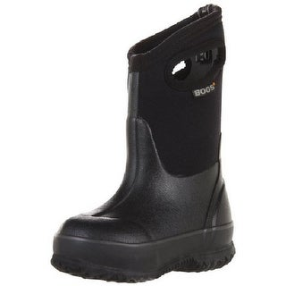 "Bogs Boots Boys Kids 10"" Classic Handles Rubber WP Black"