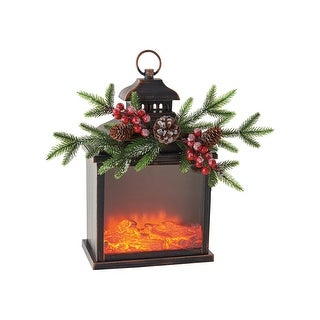 "ONE HUNDRED 80 DEGREES Firelight Lantern, LED Lighted Electric Faux Fireplace Lantern Accent Light, 10"" x 17"""