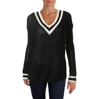 Hooked Up by IOT Womens Juniors Open Stitch Long Sleeves V-Neck Sweater