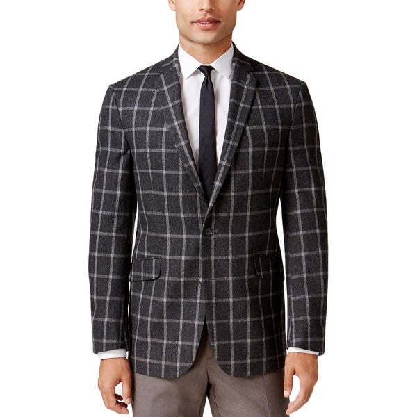 Kenneth Cole New York Mens Two-Button Blazer Wool Checkered