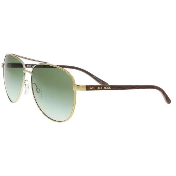 deec7a660f09d Michael Kors MK5007 HVAR 10432L Gold Wood Aviator Sunglasses - 59-14-135