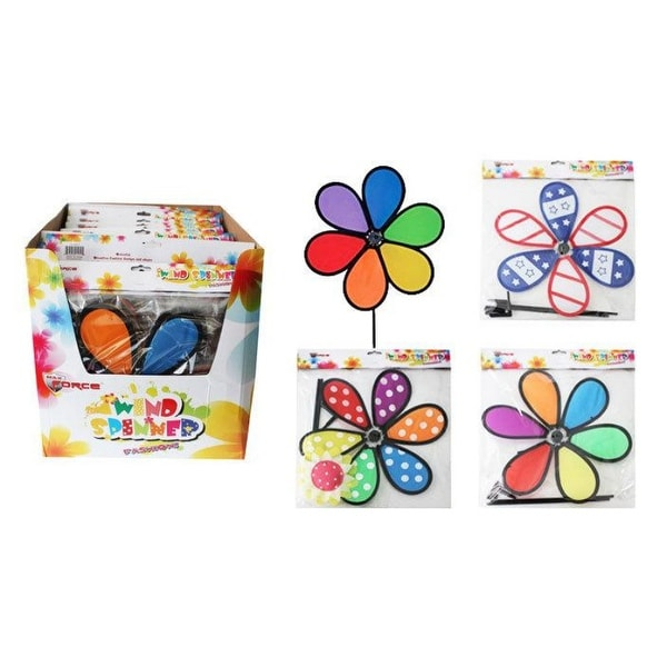 Assorted Flower Wind Spinner In Display - 24 Units