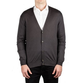 Prada Men's Cashmere Silk Cardigan Button Sweater Dark Grey