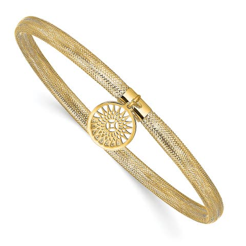 14K Yellow Gold Polished Sun Charm Stretch Slip On Bangle by Versil