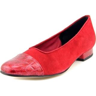 Vaneli Frankie Women Cap Toe Suede Red Flats
