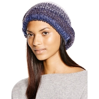 Aqua Ladies Navy Blue and Grey Multi Striped Slouchy Beanie Made In Italy