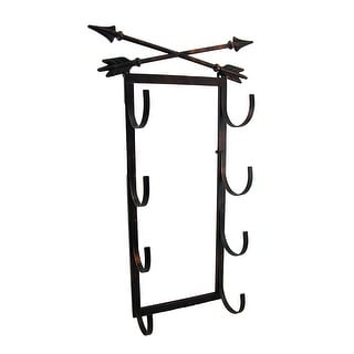 Crossed Arrows Rustic 4 Bottle Wall Mounted Wine Rack - 27 X 15.5 X 5 inches
