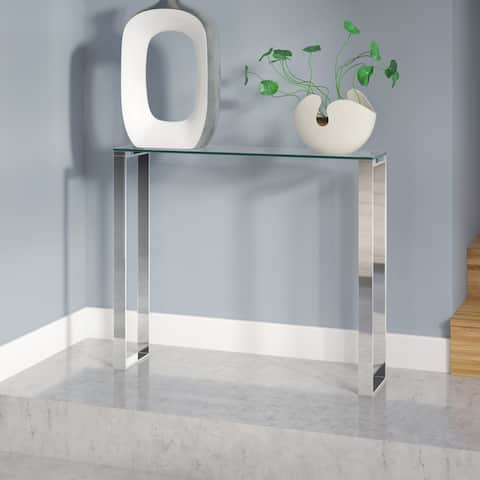 Gem Modern Tempered Glass & Stainless Steel Console Table (3 Size Options)