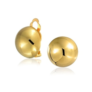 Bling Jewelry Gold Plated ,925 Silver Half Ball Clip On Earrings Nickel Clip