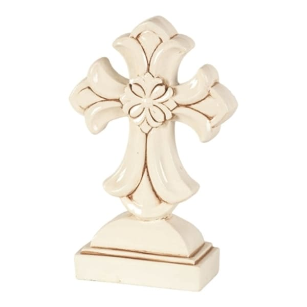 "9.75"" Antique White and Brown Floral Cross Shaped Tabletop Decor - N/A"