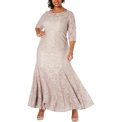 Alex Evenings Womens Plus Evening Dress Lace Sequined - Taupe - 20W