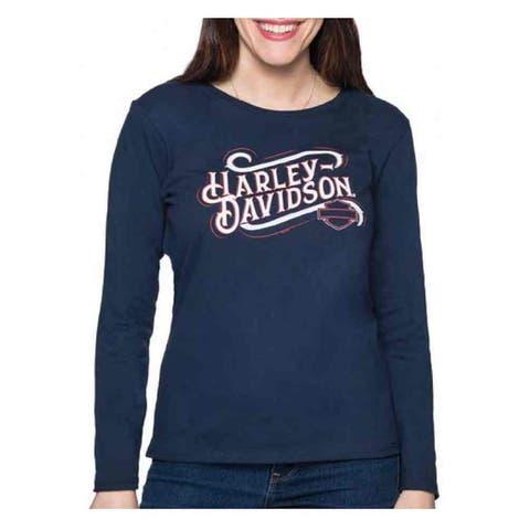 Harley-Davidson Women's Honorable Retro Long Sleeve Cotton Shirt - Navy