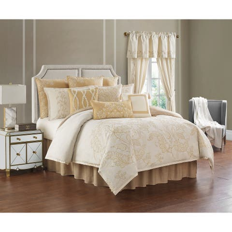 Rose Tree Farrah Ivory and Gold Embroidered Comforter Set
