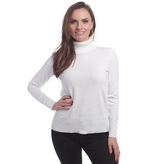 Cable & Gauge Women's Long Sleeve Turtleneck With Covered Buttons At Cuff