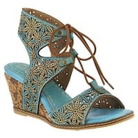 L'Artiste by Spring Step Women's Vannessa Gladiator Sandal Sky Blue Leather