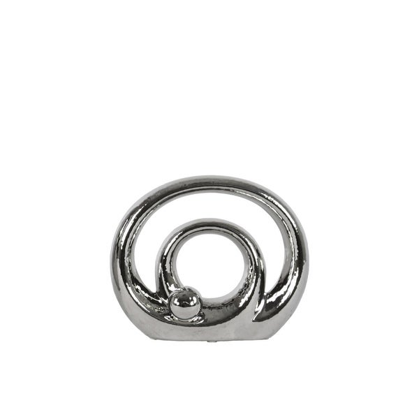 Double Circle Design Abstract Sculpture In Ceramic, Small, Silver