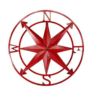 20 Inch Diameter Distressed Red Finish Metal Compass Rose Wall Hanging