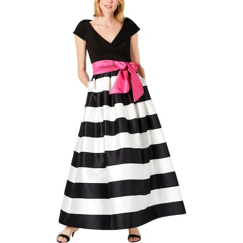 Jessica Howard Womens Plus Missy Formal Dress Striped Portrait Neckline - Black-White - 8