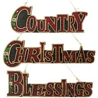 """Set of 3 """"CHRISTMAS"""", """"COUNTRY"""" & """"BLESSINGS"""" Sign Holiday Ornaments"""