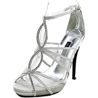 Caparros Sophie Women Peep-Toe Canvas Silver Heels