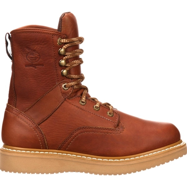 Leather Work Boots with Wedge Sole