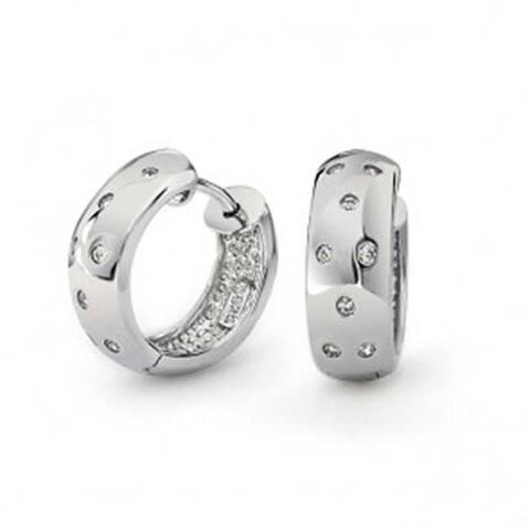Zig Zag Bezel Set Cubic Zirconia Wide Kpop Huggie Hoop Earrings For Women For Men Shiny 925 Sterling Silver
