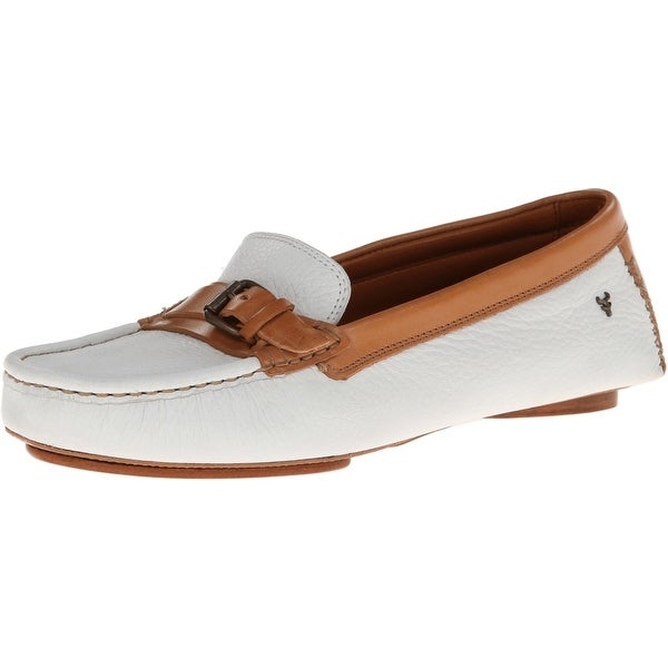 Trask NEW White Kara Norwegian Elk 7.5M Loafers Leather Shoes