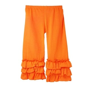 Girls Orange Triple Tier Ruffle Cuffed Cotton Spandex Pants 12M-6