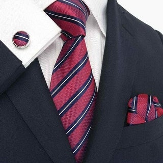 Men's Red Stripes 100% Neck Tie Set With Hanky 18007