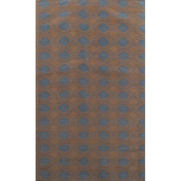 "Geometric Wool/ Silk Highlight Modern Oriental Area Rug Hand-tufted - 5'7"" x 8'0"". Opens flyout."
