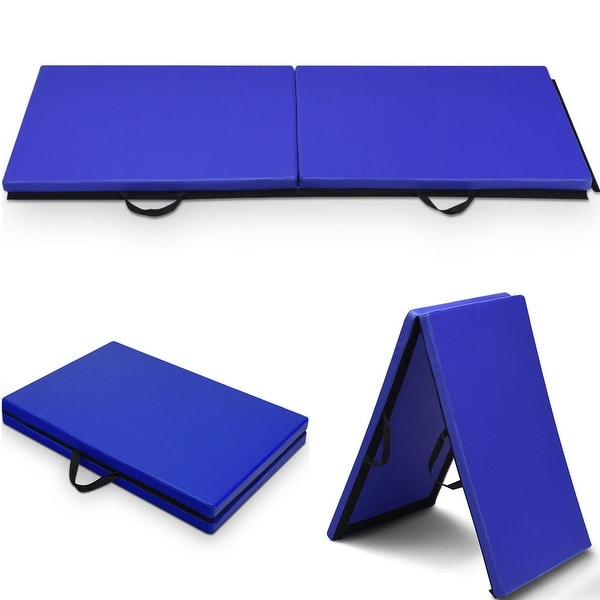 Shop Costway 6'x 2' Gymnastics Mat Thick Two Folding Panel