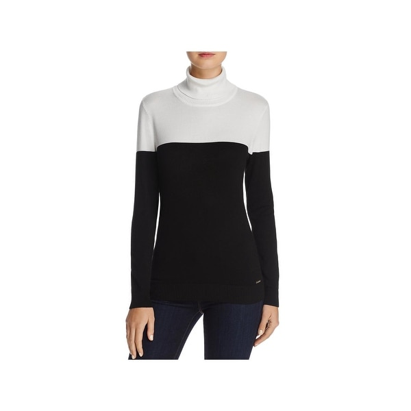 80390cbe163 Shop Calvin Klein Womens Turtleneck Sweater Knit Colorblock - On ...