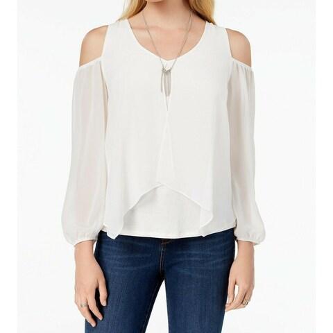 BCX Off White Women's XL Necklace Cold-Shoulder Contrast Blouse